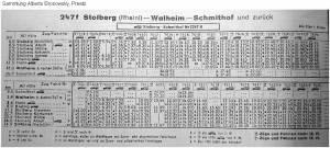 Sommer1960 _Kursbuchtabelle_Stolberg_Walheim_a b