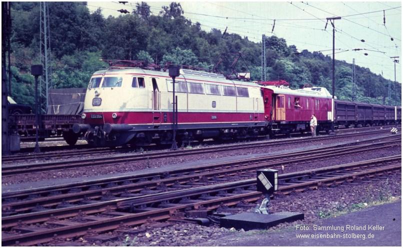 1967_StolbergHbf_E03004_Messwagen_Hochgeschwindigkeitsmessfahrten_EFStolberg_x1F4_F